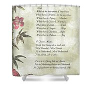 Pope Francis St. Francis Simple Prayerbutterfly On Bamboo Shower Curtain by Desiderata Gallery