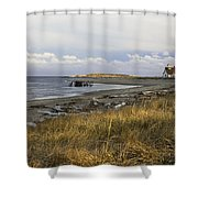 Popham Beach On The Maine Coast Shower Curtain