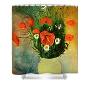 Poppies And Daisies Shower Curtain by Odilon Redon