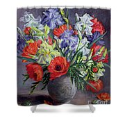 Poppies And Irises Shower Curtain by Anthea Durose