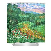 Poppies And Lace Shower Curtain