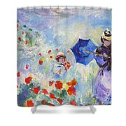 Poppies At Argenteuil Claude Monet Shower Curtain