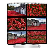 Poppies At The Tower Collage Shower Curtain