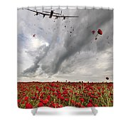 Poppies Dropped  Shower Curtain