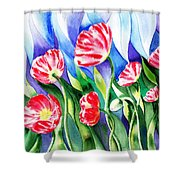 Poppies Field Square Quilt  Shower Curtain