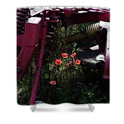 Poppies Growing Amongst Farm Machinery In A Farmyard Near Pocklington Yorkshire Wolds East Yorkshire Shower Curtain