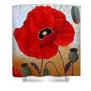 Poppies I Shower Curtain