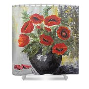 Poppies In A Vase Shower Curtain