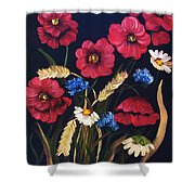 Poppies In Oils Shower Curtain