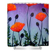 Poppies In The Sky II Shower Curtain