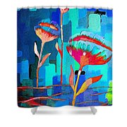 Poppies On Blue 1 Shower Curtain