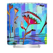 Poppies On Blue 2 Shower Curtain