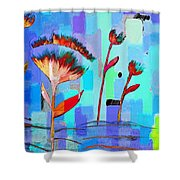 Poppies On Blue 3 Shower Curtain