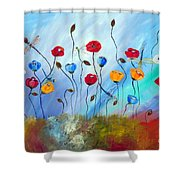 Poppy And Dragonfly Shower Curtain