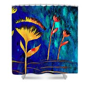 Poppy At Night Abstract 3  Shower Curtain