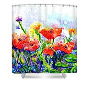 Poppy Fields Shower Curtain