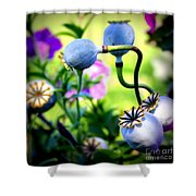 Poppy Pods And Curvy Stems. Shower Curtain