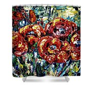 Poppy Red Flowers Shower Curtain