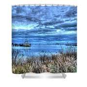 Poquoson Yacht On Stormy Morning Shower Curtain