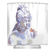 Porcelain Maiden In Watercolor Shower Curtain