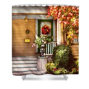 Porch - Cranford Nj - Simply Pink Shower Curtain by Mike Savad