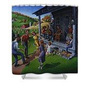 Porch Music And Flatfoot Dancing - Mountain Music - Farm Folk Art Landscape - Square Format Shower Curtain