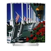 Porch Of The Grand Hotel, Mackinac Shower Curtain