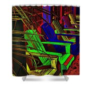 Neon Porch Perches Shower Curtain