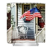 Porch With Flag And Wicker Chair Shower Curtain