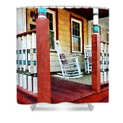 Porch With Red White And Blue Railing Shower Curtain