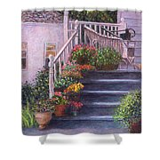 Porch With Watering Cans Shower Curtain