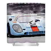 Porsche 917 Gulf Watercolor Shower Curtain