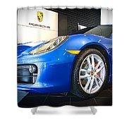Porsche Cayman S In Sapphire Blue Shower Curtain