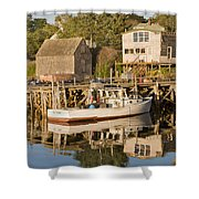 Port Clyde Maine Boats And Harbor Shower Curtain