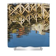Port Clyde Maine Lobster Traps Reflecting In Water Shower Curtain