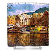 Port Life Watercolor Shower Curtain