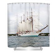 Juan Sebastian De Elcano Famous Tall Ship Of Spanish Navy Visits Port Mahon In Front Of Bloody Islan Shower Curtain
