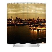 Port Miami Golden Photopaint Shower Curtain