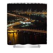 Port Of Miami Macarthur Causeway Shower Curtain