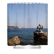 Port Of The Myloi And Dolphins - Rhodos Citys Shower Curtain