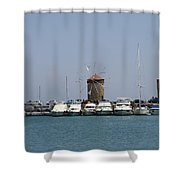 Port Of The Myloi - Rhodos City Shower Curtain