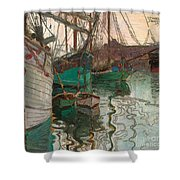 Port Of Trieste Shower Curtain by Egon Schiele
