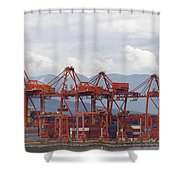 Port Of Vancouver Bc Cranes And Containers Shower Curtain