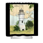 Port Pontchartrain Lighthouse La Chart Map Art Shower Curtain