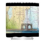 Port Washington Lighthouse Wi Nautical Chart Map Art Shower Curtain