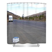 Porta Potty Rest Area Shower Curtain