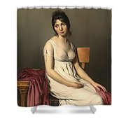 Portait Of A Young Woman In White Shower Curtain