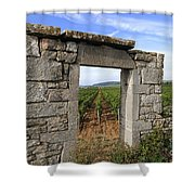Portal Of Vineyard In Burgundy Near Beaune. Cote D'or. France. Europe Shower Curtain