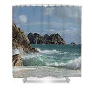 Porthcurno Beach Shower Curtain
