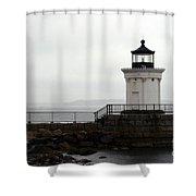 Portland Breakwater Light On A Hazy Day - Maine Shower Curtain